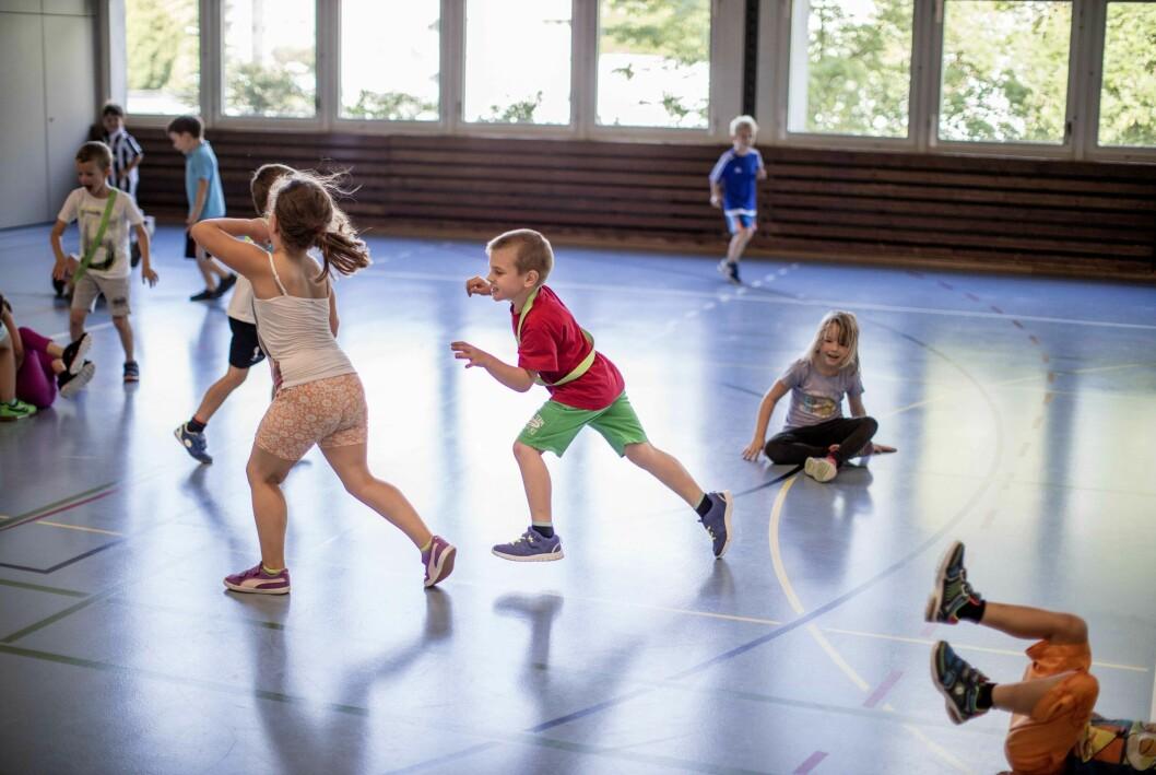 barn som går i gymnastik som aktivitet