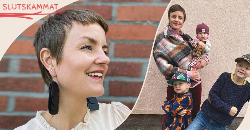Anna-Carin Abrahamsson med barnen