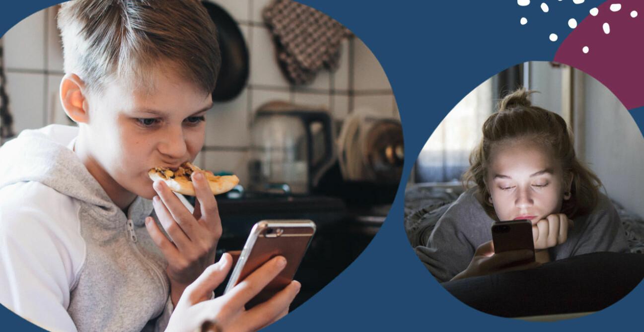 Barn och tonåringar med mobiltelefon
