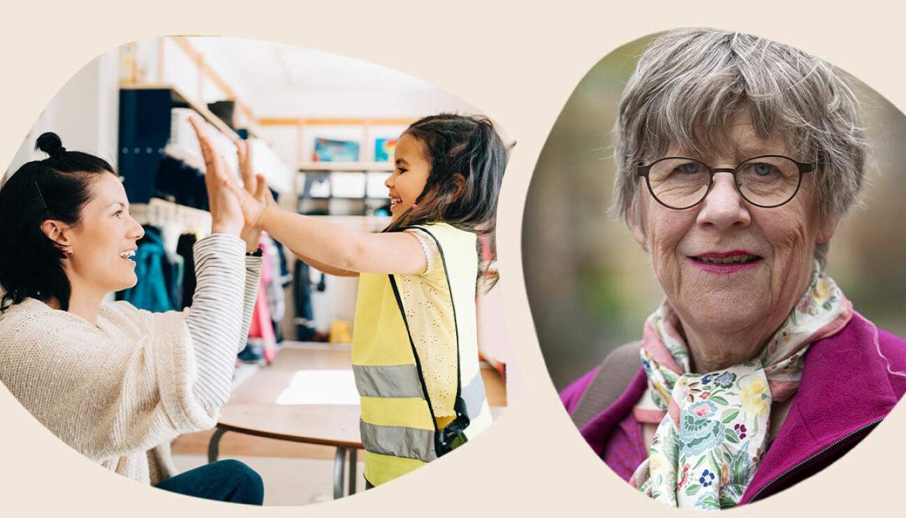 Barn på förskolan och Agnes Wold, läkare och professor