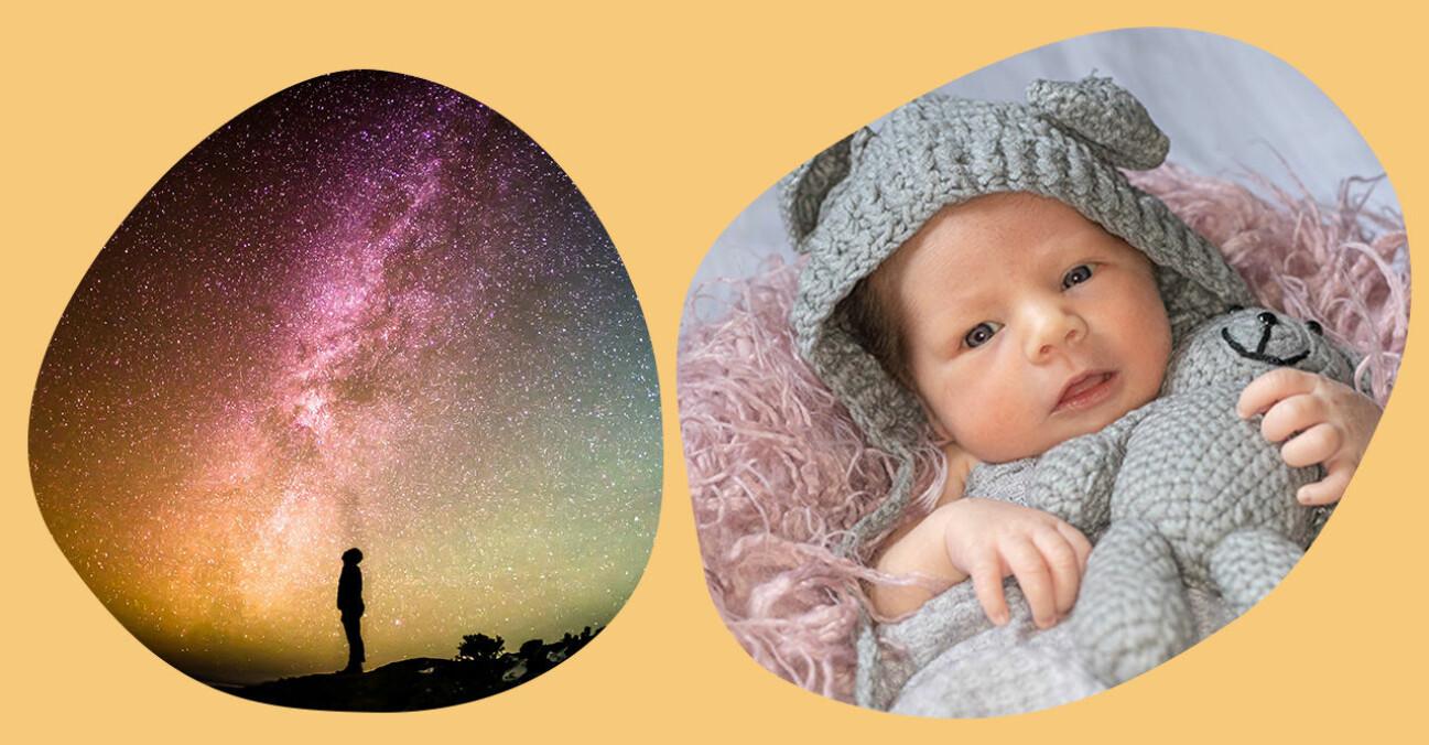 Bebis på mysig filt bredvid bild av stjärnklar natt.