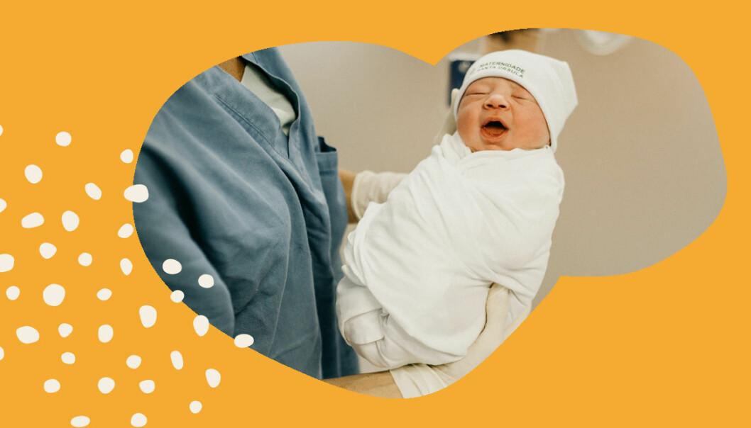 bebis i armarna på barnmorska