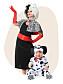 Cruella De Ville-kläder vuxen och Dalmatinvalp-dräkt bebis