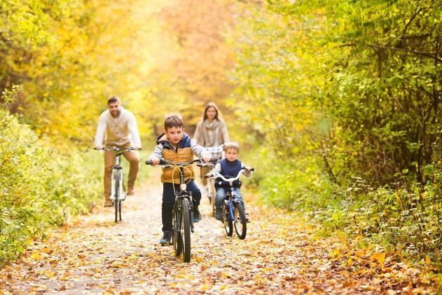 familj på cykelutflykt