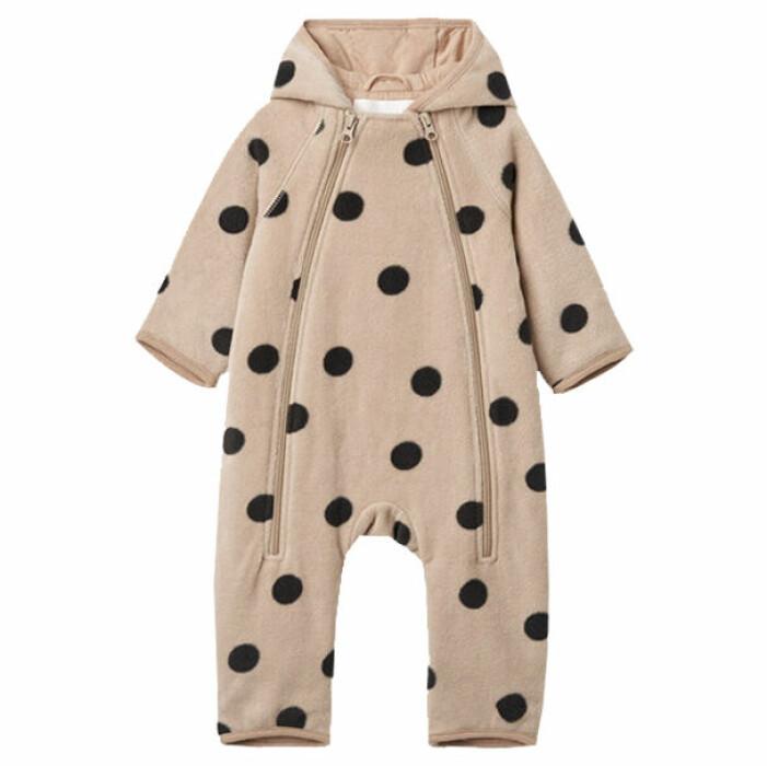 billiga och fina barnkläder - prickig fleeceoverall för bebis