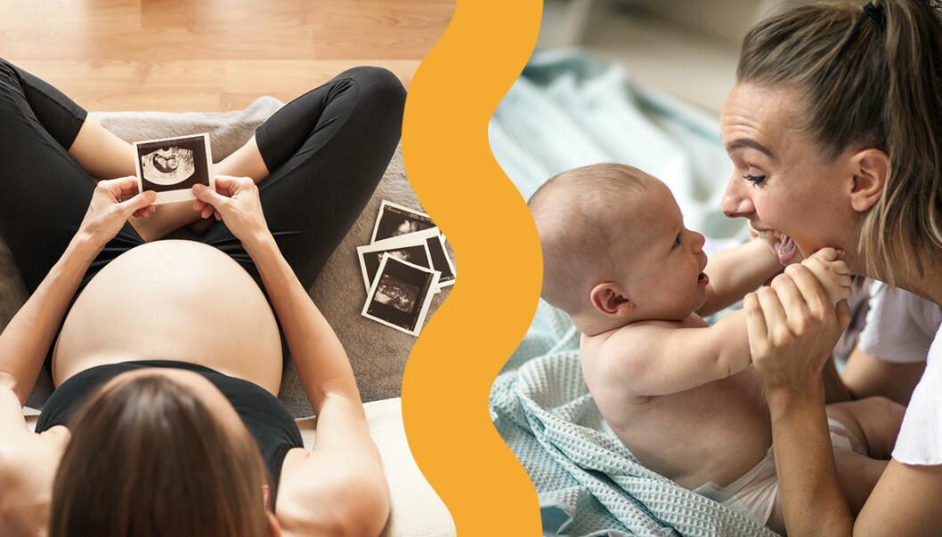 Gravid kvinna och mamma med bebis