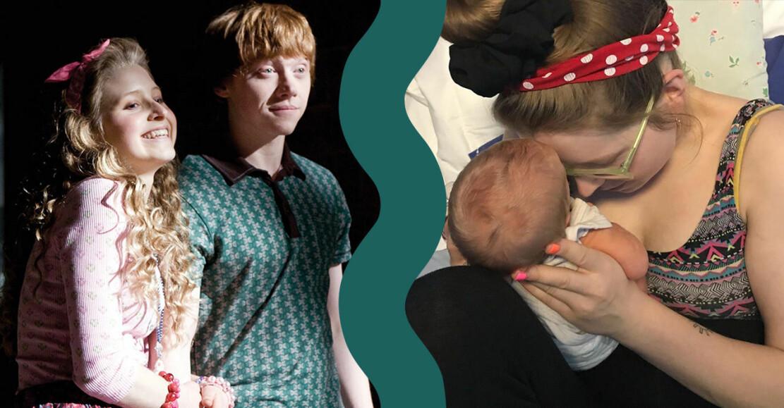 Lavender och Ron Weasley i Harry Potter samt Jessie Cave med bebis