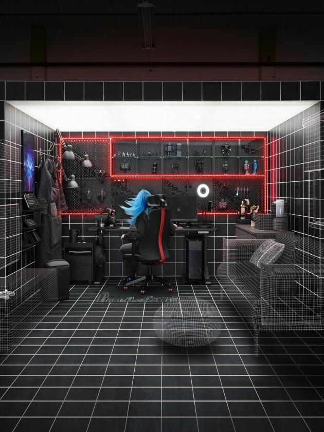 Gaming rum med diverse tillbehör och accessoarer