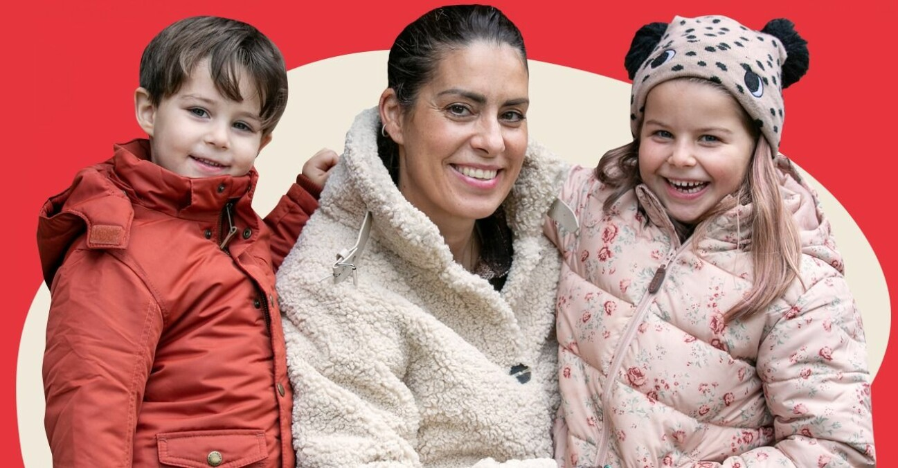 Nina Campioni tillsammans med sina barn.