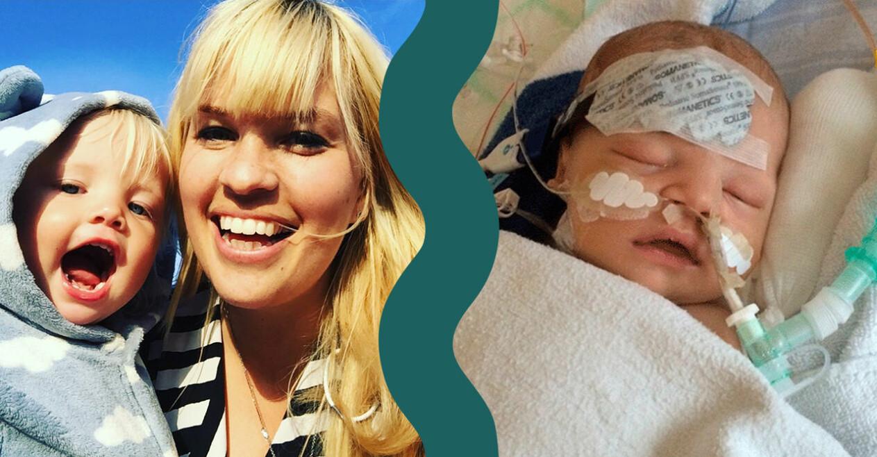 Jennie Sandberg och sonen Frank som föddes med ett hjärtfel