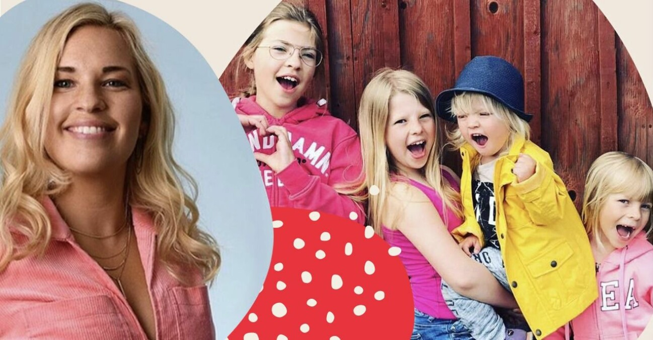 Jennie Sandberg med sina fyra barn