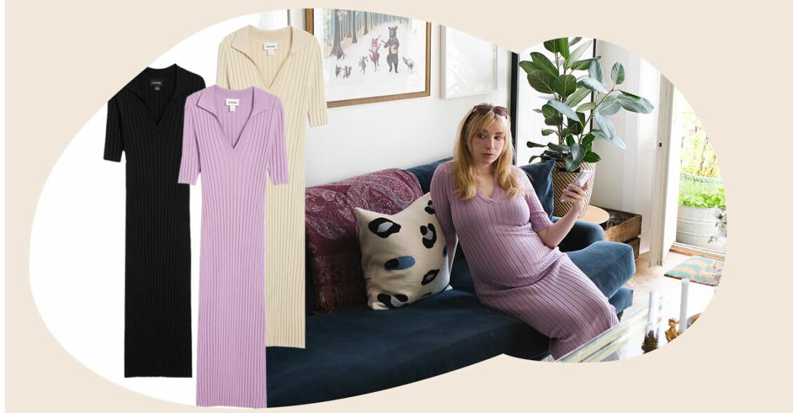 sandra beijer, i en ribbstickad lila klänning som passar för både graviditet och amning