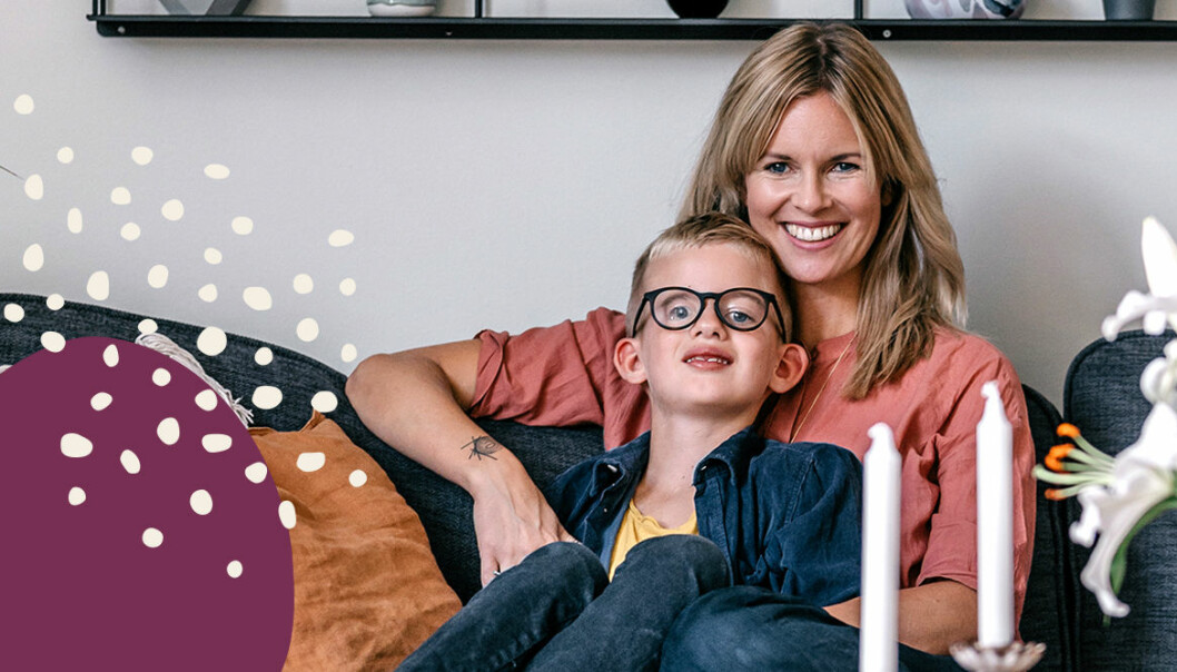Linda med sonen Morris.