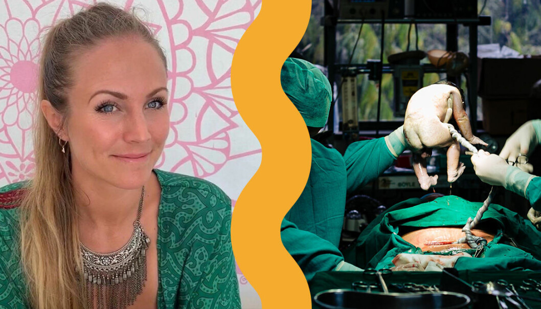 Rachel Bråthen, känd som Yoga Girl, tillagade sin moderkaka.