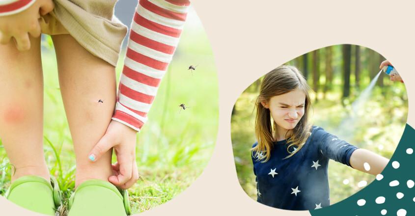 Barn som kliar sig på benet och som får myggspray på sig