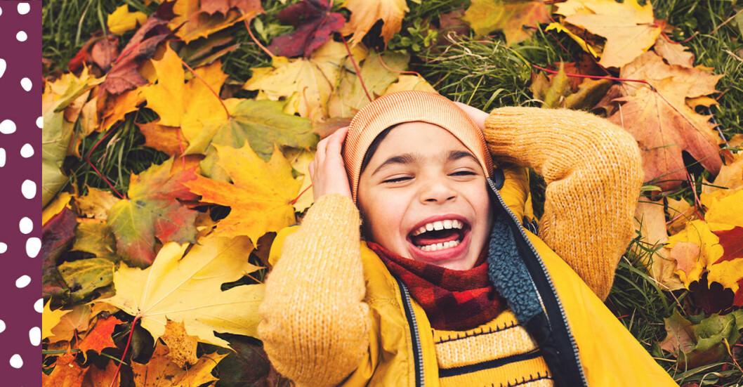 pojke som ligger i löven