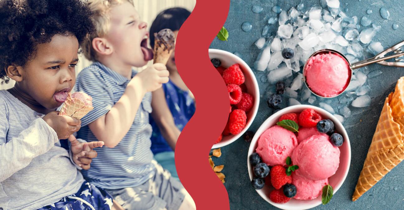 Bild på barn som äter glass samt nyttig nice cream