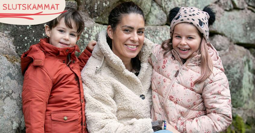 Nina Campioni med barnen Rosso och Essie