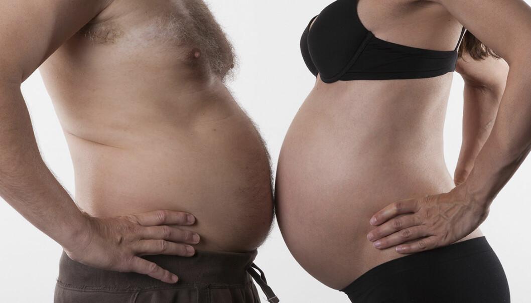 Gravidmage och en mans ölmage