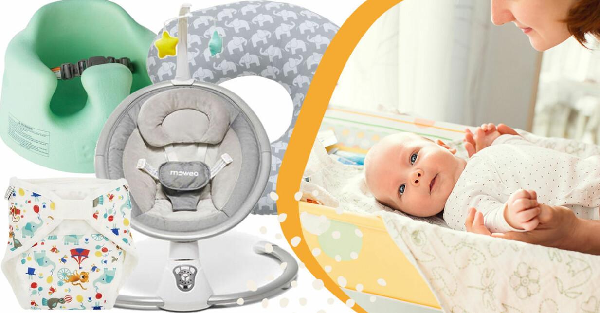 Bebis på skötbord med olika prylar