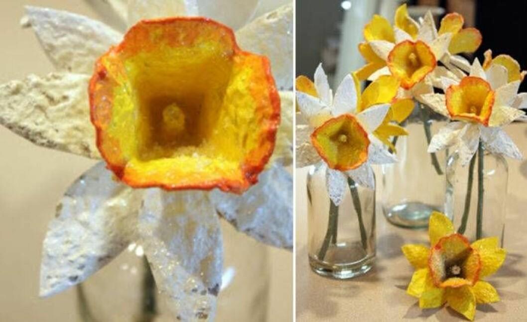 Påskpyssel med äggkartong. Skapa vackra påskliljor.