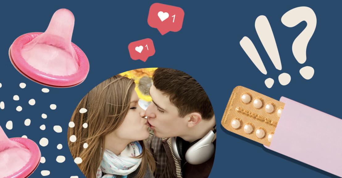 Collage på tonåringar som pussas.