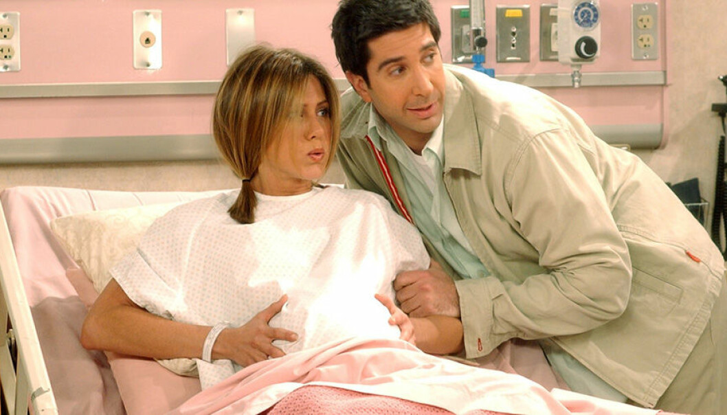 Rachel och Ross i tv-serien Vänner när Rachel föder barn.