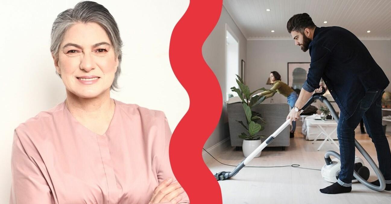 Relationsexperten Liria Ortiz och ett par som städar i hemmet.