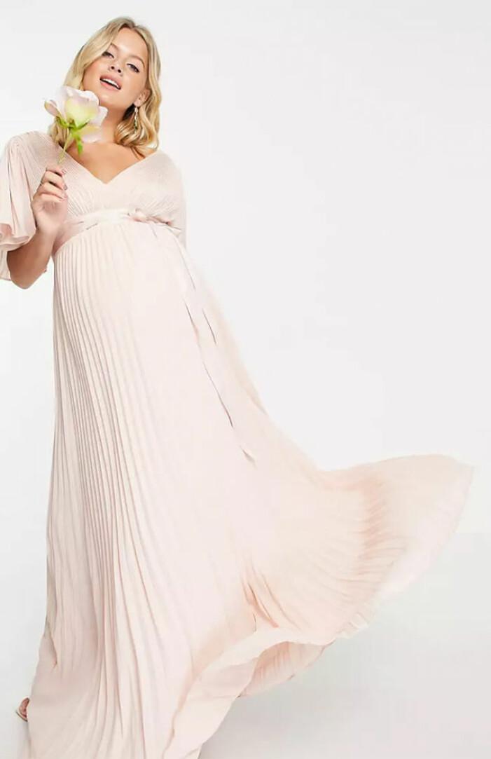 rosa brudtärneklänning för gravida