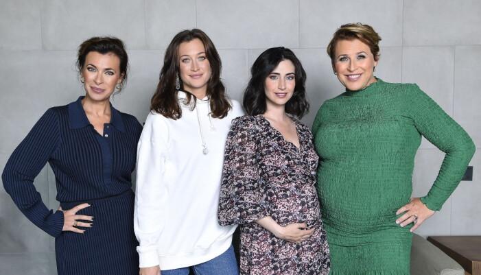 Amanda Schulman, Julia Ragnarsson, Dilan Gwyn och Hannah Widell under pressträffen för Två systrar.