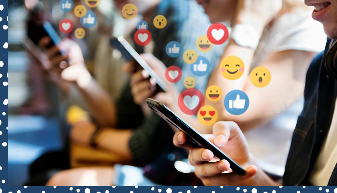 Tonåringar på rad med smartphones i handen och olika emojis i bild.