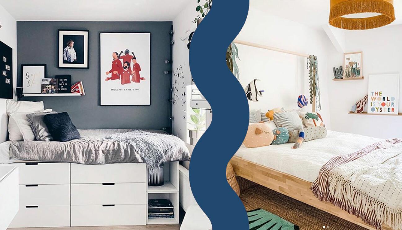 Två fina tonårsrum med säng, byrå och kuddar.